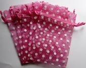Set of 20 Pretty Pink with White Polka Dot Organza Bags (4x6)
