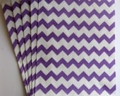 """Set of 20 Purple and White Chevron Design Middy Bitty Bags (5"""" x 7.5"""")"""
