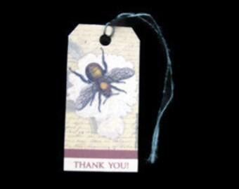 10 Die Cut Bumblebee Thank You Tags