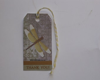 10 Die Cut Dragonfly Thank You Tags