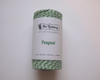 25 Yards of PEAPOD - Green and White Bakers Twine