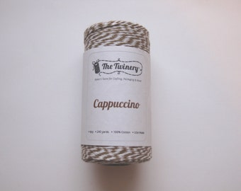 25 Yards of CAPPUCCINO - Brown and White Bakers Twine
