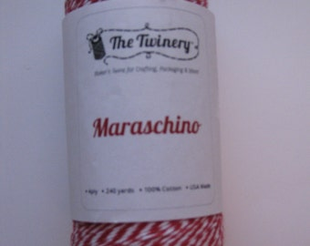 25 Yards of MARASCHINO - Red and White Bakers Twine