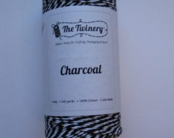 10 Yards of CHARCOAL - Black and White Bakers Twine