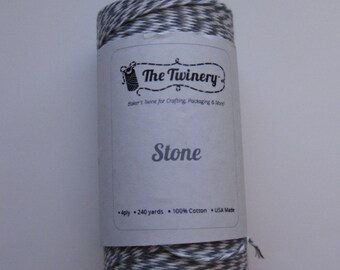 Full Spool - STONE - Gray and White Bakers Twine (240 yards)