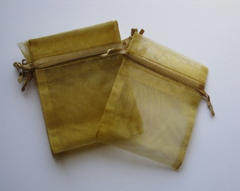 Set of 10 Old Gold Organza Bags (3x4)