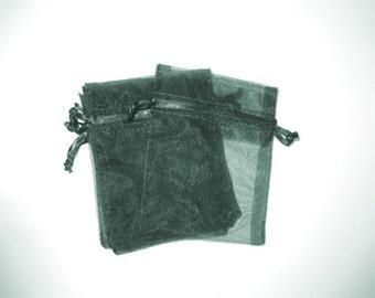Set of 10 Hunter Green Organza Bags (3x4)