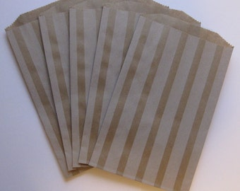 "SALE - Set of 10 Soft White Vertical Stripe on Kraft Middy Bitty Bags (5"" x 7.5"")"