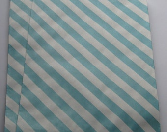 "Set of 10 Aqua and White Diagonal Striped Bigger Bitty Bags (6.25"" x 9.25"")"