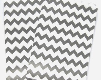 "Set of 10 Black and White Chevron Design Middy Bitty Bags (5"" x 7.5"")"