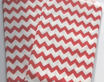 "Set of 10 Red and White Chevron Design Middy Bitty Bags (5"" x 7.5"")"