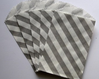 "Set of 20 Gray and White Diagonal Striped Bitty Bags (2.75"" x 4"")"