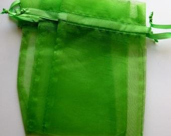 Set of 10 Apple Green Organza Bags (5x7)