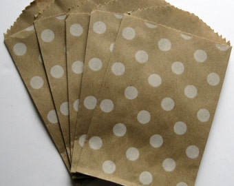"Set of 10 Kraft with Soft-White Polka Dot Design Bitty Bags (2.75"" x 4"")"