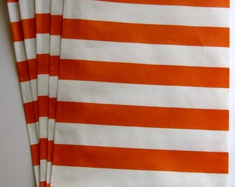 "Set of 10 Red and White Horizontal Stripe Design Middy Bitty Bags (5"" x 7.5"")"
