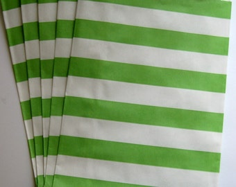 "Set of 20 Green and White Horizontal Stripe Design Middy Bitty Bags (5"" x 7.5"")"