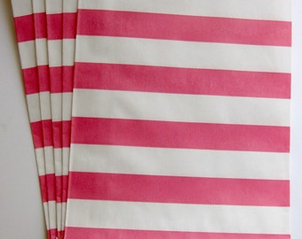 "Set of 10 Pink and White Horizontal Stripe Design Middy Bitty Bags (5"" x 7.5"")"
