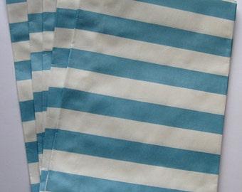 "Set of 20 Aqua and White Horizontal Stripe Design Middy Bitty Bags (5"" x 7.5"")"