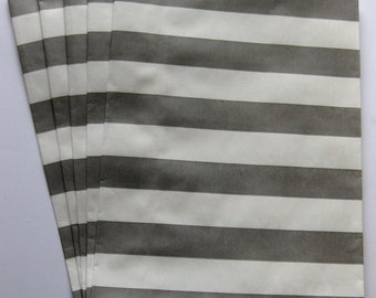 "Set of 20 Gray and White Horizontal Stripe Design Middy Bitty Bags (5"" x 7.5"")"