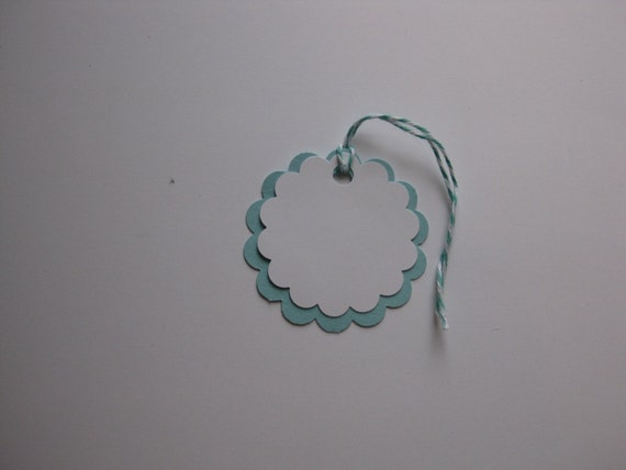 25 Teal and White Double Scallop Circle Die Cuts for Weddings, Wish Tree, Escort, Favor Gift Tags-DIY