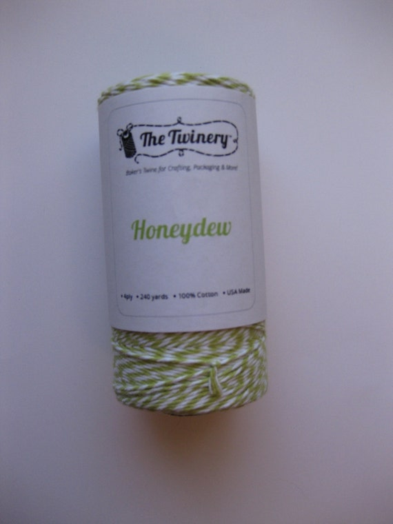 10 Yards of HONEYDEW - Lime and White Bakers Twine