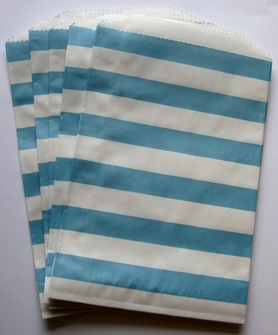 "Set of 20 Aqua and White Horizontal Stripe Design Middy Bitty Bags (5"" x 7.5"")"