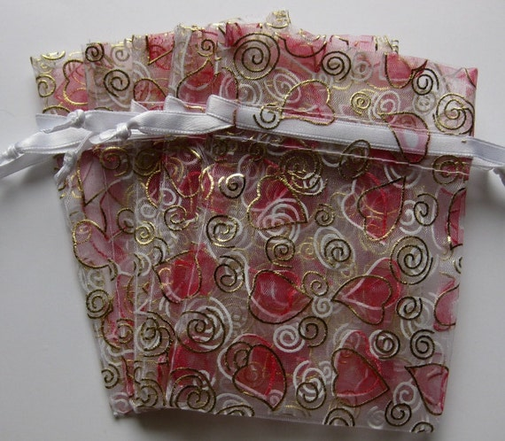 Set of 10 Hearts & Swirls Printed Organza Bags (3-1/2 x 5)