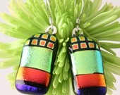 Celebration of Color Fused Dichroic Glass Earrings