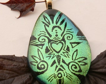 In Love Dichroic Glass Pendant - One Heart and Swirls on a Green Meadow