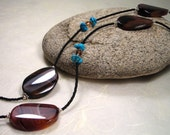 Long Dream Agate and Turquoise Necklace