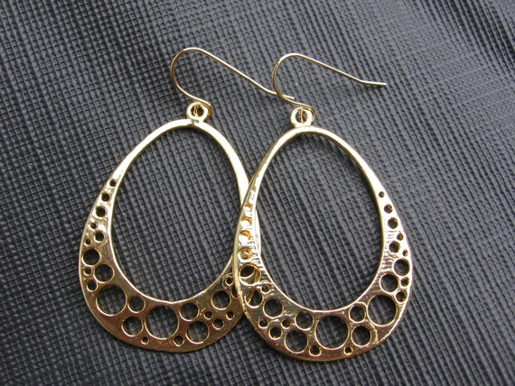 Modern. Contemporary.  Gold Plated Circle Hoop Earrings