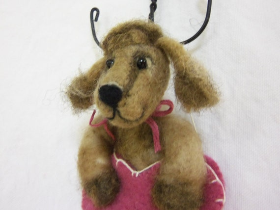 "Brown Poodle ""Puppy Love"" ornament needle felted in wool heart"