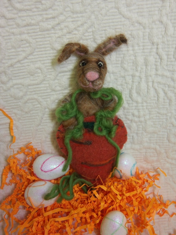 Needle felted bunny in carrot ornament, decor or for the bunny lover