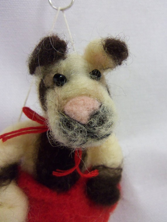 Needle felted puppy ornament in wool heart, Pocket Pet pit bull