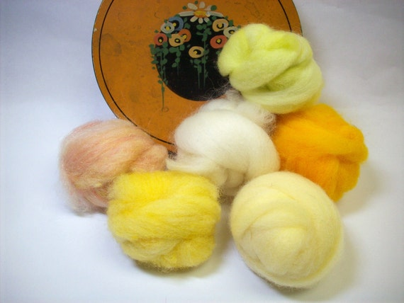 Wool roving fiber assortment for needle felting Wooly Buns hand dyed sampler in Sunshine, 1.5 oz