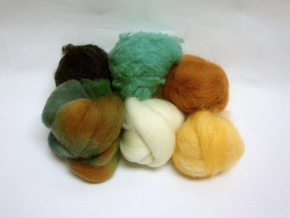 Wool roving assortment, sampler, Wooly Buns for needle felting in Sunflowers, 1.5 oz