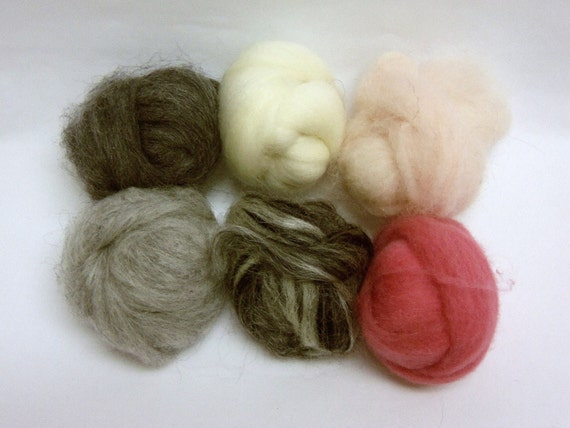 Fiber assortment, loose wool roving, needle felting supplies, Wooly Buns in Little Lamb, 1.5 oz
