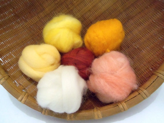 Wool roving assortment, Wooly Buns for needle felting, 1.5 ounces in Sunrise
