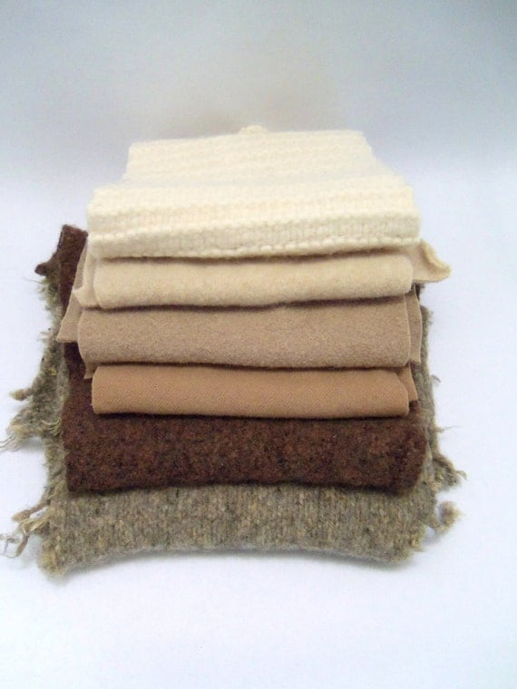Wool piece supplies for crafts projects, stuffed animals, penny rugs, wool, neutral shades, 6 oversized pieces
