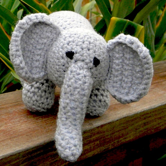 Baby Elephant - Crochet - Gray Amigurumi - Jungle Animal, Circus Animal - Zoo Animal - Elephant Toy - Soft - Plush - Baby and toddler safe.