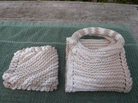 Knitted Back Srubber and Wash Cloth set. Bath/Shower Set. Neutral Colors. Exfoliating,100% Cotton. In stock and ready to ship