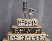 Happily Ever After Wedding stacker with bride and groom robot