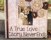 Wedding gift decoration Wooden plaque A true love story never ends
