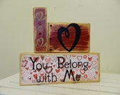 Valentines wooden block decoration for the home valentines gift decor hearts painted shabby chic valentines day gift