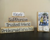 Bridesmaid gift wooden stacker with photo block Set of 5