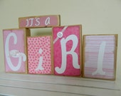 Reversible It s a Girl/ Its a Boy baby wooden banner