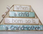Grandmother gift wooden stacker with quote tied with cream ribbon Christmas gift blue and white mother gift