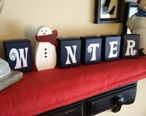 Winter Blocks with snowman Christmas decoration blue Christmas with wooden snowman cut out frosty the snowman