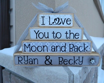 Personalized I love you to the moon and back wedding stacker