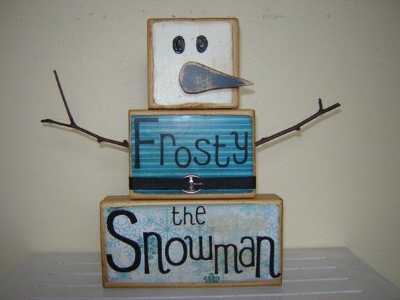 Frosty the Snowman wooden block decoration wooden snowman blue Christmas Gift let it snow winter snowflakes winter wonderland  snowman decor